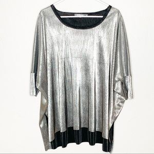 ALEMBIKA silver metallic oversized tunic top MED